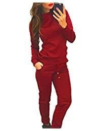 Women's 2Pcs Crew Neck Long Sleeve Tracksuit Sweatshirt Pants Sets Pullover Outwear