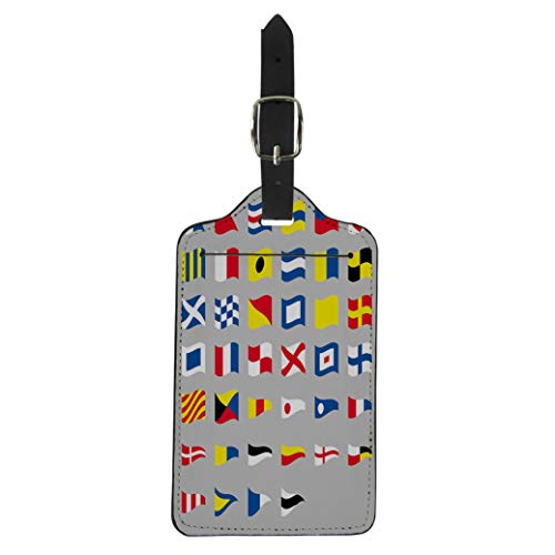 Pinbeam Luggage Tag Navy International Maritime Signal Nautical Waving Flags Gray Suitcase Baggage Label