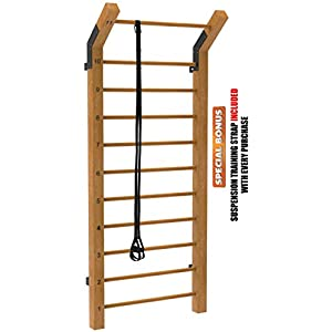 Limitless XVP Fitness Swedish Ladder Wood Stall Bar Suspension Trainer – Physical Therapy & Gymnastics Ladder w/ 11 Strategic Rods – Ideal for Back Pain Scoliosis Exercise Equipment & Range of Motion