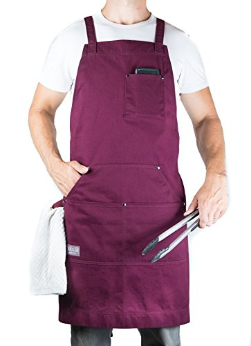 Hudson Durable Goods - Professional Grade Chef Apron for Kitchen, BBQ, and Grill (Burgundy) with Towel Loop + Tool Pockets + Quick Release Buckle, Adjustable M to XXL