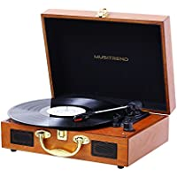 Musitrend Turntable Portable Record Player Suitcase with Built-in Speakers (Wood)