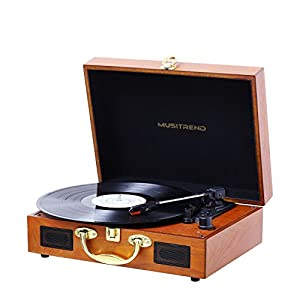 Record Player, MUSITREND Turntable Portable Suitcase with Built-in Speakers, PC Recorder, Headphone Jack, RCA line out (Wood)