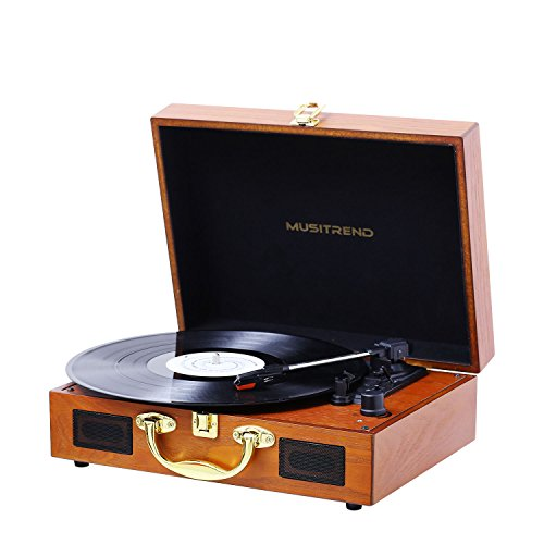 Musitrend Turntable Portable Suitcase Record Player with Bui
