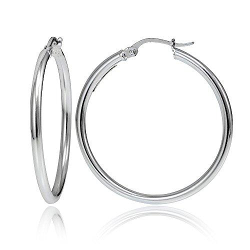 - Hoops & Loops Sterling Silver 2mm High Polished Round Hoop Earrings, 40mm