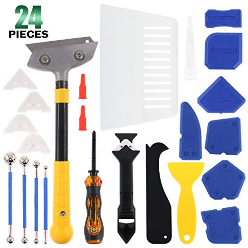 Keadic 24 Pieces Caulking Tool Kit, Silicone Sealant Finishing Tool Grout Scraper Caulk Remover Caulk Nozzle Caulk Caps Metal Beads Tile Screwdriver and Shovel, for Kitchen Bathroom