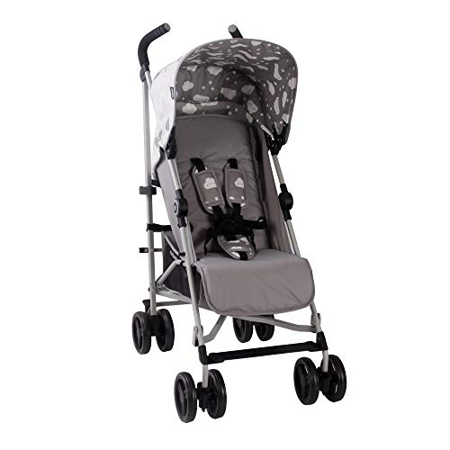 My Babiie US02 Grey Clouds Baby Stroller – Lightweight Baby Stroller with Carry Handle – Silver Frame and Grey Clouds – Lightweight Travel Stroller – Stylish Umbrella – Babies 6 Months – 33 lbs