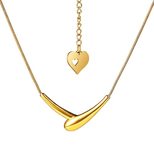 HIXIN Fashion 316L Stainless Steel Necklace for Womens or Girls 18K Gold Vacuum Plated Adjustable Clavicle Chain Love Heart Shape Shake Hands Pendant Jewelry (Golden Tones)