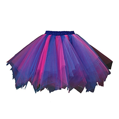 Honeystore Women's Short Vintage Ballet Bubble Puffy Tutu Petticoat Skirt Royal Blue and Fuschia