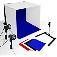 Ivationstudio 20 X 20 Photo Studio Folding Photography Tent Kit With 2 LED Lights, 2 Light Stands, 1 Tripod, + 4 Colors Red, Black, Blue, White Backdrop + 1 Carry Bag