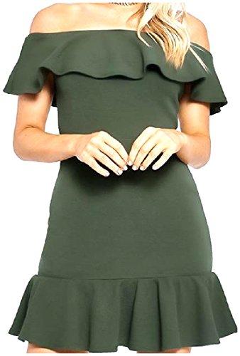 Scuro Verde Solido Tagliare Donne Spalla Vestito Delle Coolred Color Volant Occidentale qCBOZwa