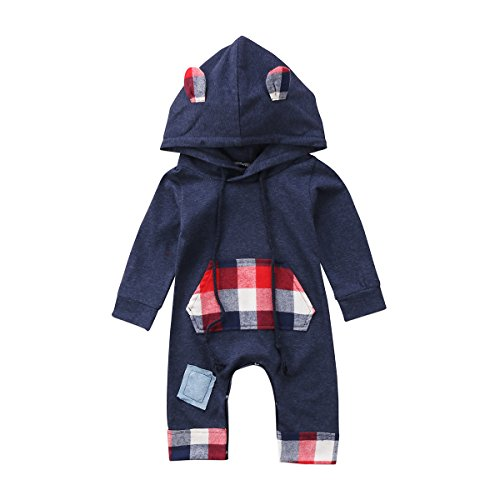 ITFABS Baby Boys Girls Rompers Plaid Hoodie Jumpsuit Outfits Long Sleeve Sleeper Pajamas Bodysuits Clothes (Navy Blue, 6-12 ()