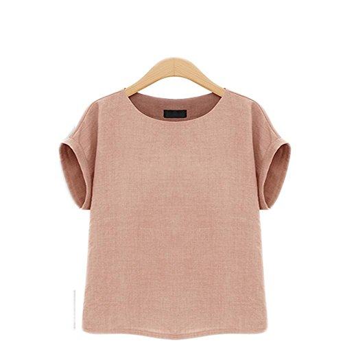 Prapra Womens Casual Loose Short Sleeve Round Collar Cotton Linen Shirt Blouse Tops Plus Size Blouse XL-5XL