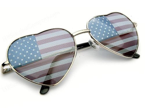 USA FLAG Heart Shaped Aviator Style Celebrity - Sunglasses Heart Aviator