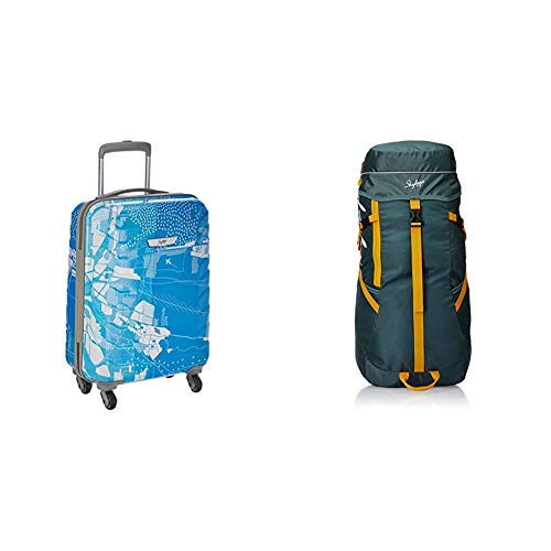 Skybags Trooper 55 Cms Polycarbonate Blue Hardsided Cabin Luggage & Skybags Sonic 49 Ltrs Green Rucksack (Sonic)