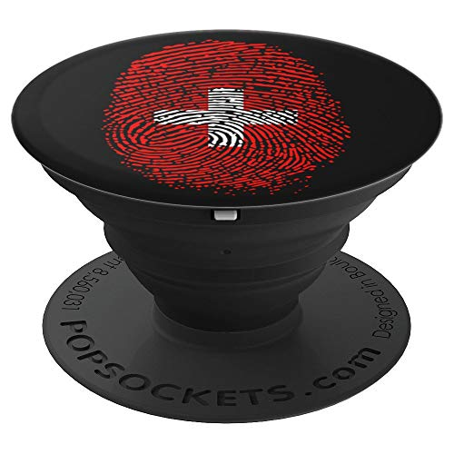 Proud DNA Switzerland Thumbprint Suisse Flag PopSockets Grip and Stand for Phones and Tablets