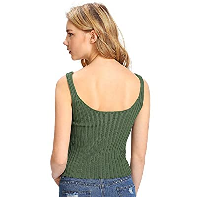 SweatyRocks Women's Ribbed Knit Crop Tank Top Spaghetti Strap Camisole Vest Tops at Women's Clothing store