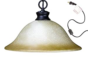 Plug In Swag Pendant Light Oil Rubbed Bronze Glass Shade