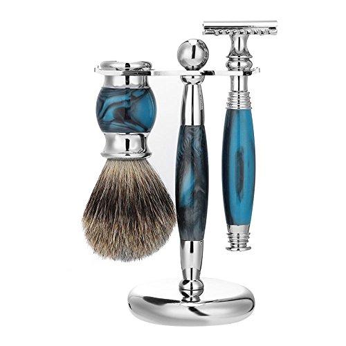 Shaver Razor Set, Men Manual Double Safety Beard Edge Razor + Badger Shaving Brush + Stand Holder (Blue)