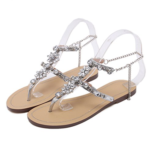 Sky-Pegasus 2018 Women Rhinestones Chains Thong Gladiator Crystal Flat Heels Sandals Five Color Size 46,Silver,9,China