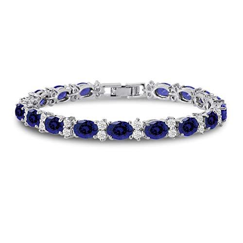 Kezef Cubic Zirconia Tennis Bracelet CZ Round Cut Oval Cut Simulated Blue Sapphire Silver Plated Brass 7 inch
