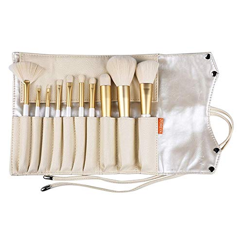 (ZOREYA Makeup Brushes 10pc Gold- Premium Quality Non Animal Cruelty Cosmetic Makeup Brush Set with Vegan Leather Make up Organizer Storage Brush Holder Case Kit Contains Contour Powder Foundation )