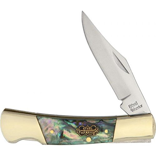 STEEL WARRIOR Smooth Resin-coated Genuine Abalone Barracuda Stainless Pocket Knife - Knife Steel Barracuda