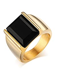 Fashion Stainless Steel Vintage Square Black Agate Signet Rings for Men, Gold and Silver Color
