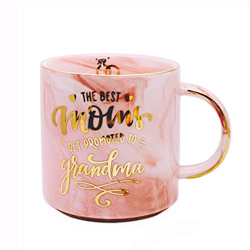Vilight New Grandma Gifts Grandmother Mug - THE BEST MOM GET PROMOTED TO GRANDMA - Pink Marble Ceramic Coffee Cup 11oz (New Coffee Cup Mug)