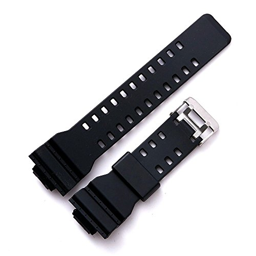Genuine Resin Rubber Watchband Strap for Casio G-Shock GA-110 GA-120 GA-200 GW-8900 GA-150 GD-100 (G-shock Black Resin Band)