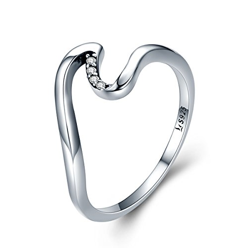 (Presentski Wave Ring Simple 925 Sterling Silver Women Engagement Unique Ring Inlaid 5A CZ, Size 5)