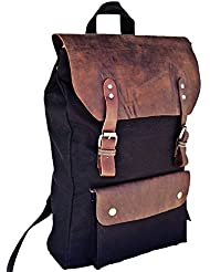 Prastara Leather Laptop Backpack Casual Canvas Campus School Rucksack with 15.6 inch Colour:Black Laptop Compartment