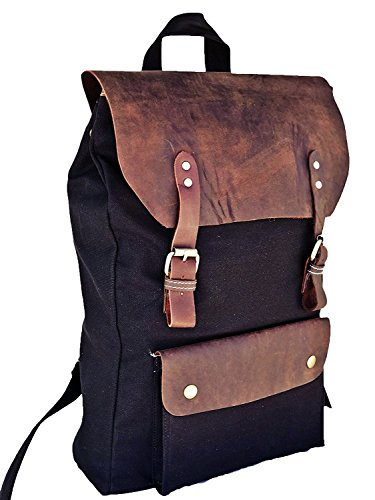 Casual Backpack Rucksack Laptop Campus School Gray 6 Laptop TUZECH Compartment with Leather Canvas 15 inch 74xtT0