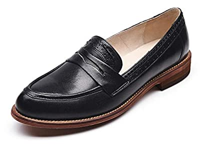 Honeystore Women's Retro Brogue Carving Penny Loafer Leather Flats Shoes