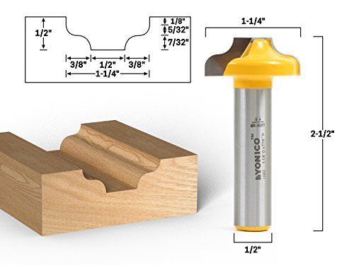 Yonico 13082 Traditional Ogee CNC Cabinet Door Rail & Stile Router Bit 1/2-Inch Shank by Yonico