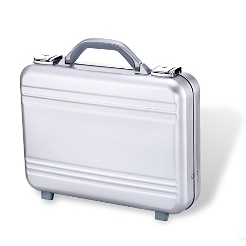 Metal Portfolio Case - Metal Attache Briefcase Laptop tool bag Precision files Aluminum briefcase Aluminum case with foam silver(Silver, 14.6X10.6X3.7 Inch)