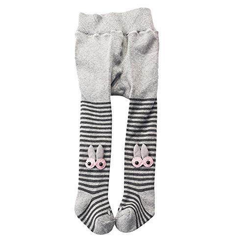 Newborns Girls Tights Stockings - Cartoon Cotton Winter Warm Pantyhose Leggings for Toddler Baby Kids (Gray, L:2-4 Years)