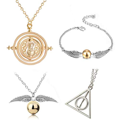 4 PCS Necklace Bracelet Set Time Turner Deathly Hallows Golden Snitch Necklace for Movie Fans Gifts Collection Magical Cosplay Costume Jewelry Gifts for Boys -