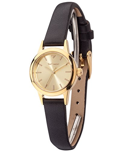 Yves Camani Gardanne Women's Watch Quartz Stainless Steel Gold Plated Gold Dial Black Leather Strap YC1076-B