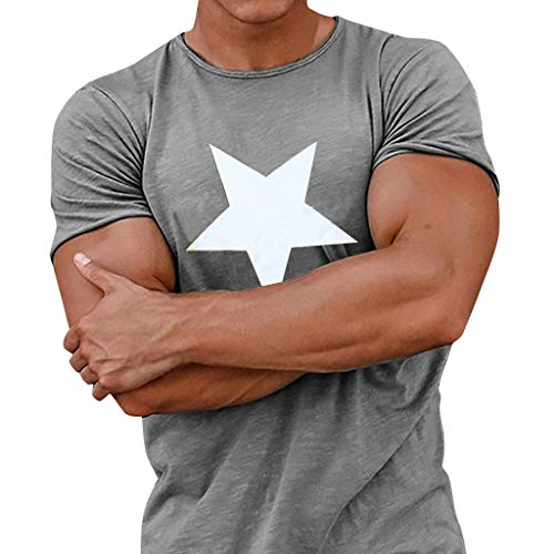 MIS1950s Men Novelty Tee Slim Fit Hooded Star Print Short Sleeve Muscle Casual Tops Blouse Sports Shirts