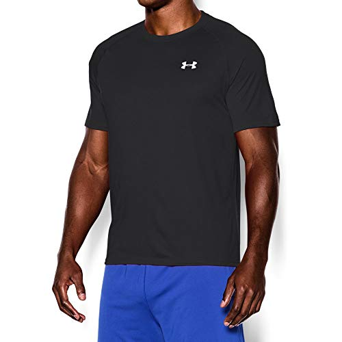 Under Armour Men's Tech Short Sleeve T-Shirt, Black /White, Large