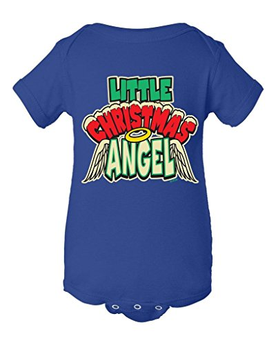 Shop4Ever Little Christmas Angel Baby Bodysuit Holiday Infant Unisex Romper_18 M_Royal Blue 11121 (Naughty Santa Helper Outfits)