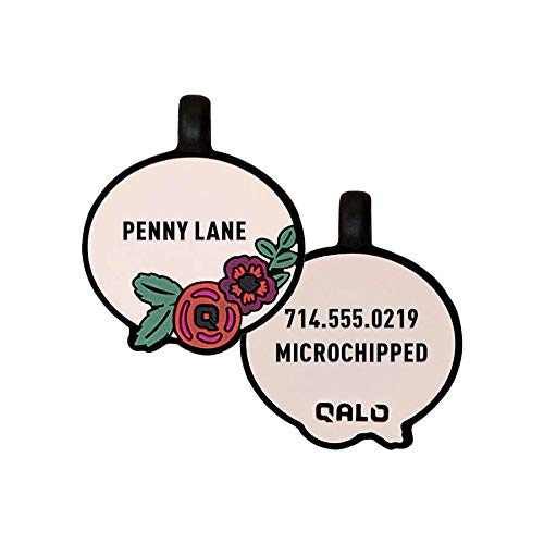 - QALO Customized Silicone Dog ID Tag - Blush Floral