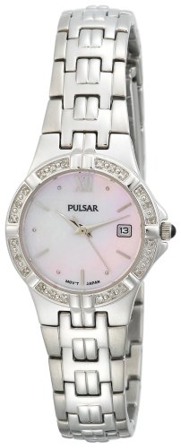 Pulsar Women's PXT703 Diamond Pink Mother Of Pearl Stainless Steel -