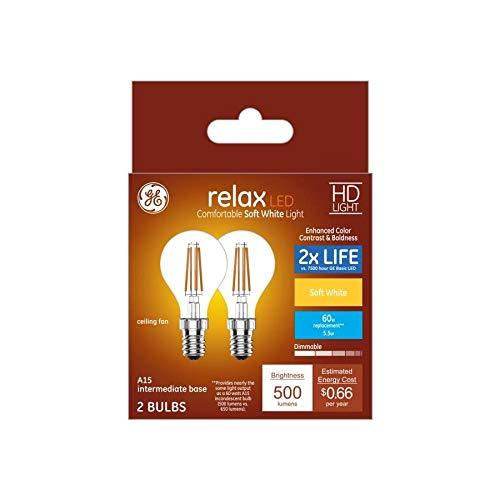 GE Relax 60W相当 調光機能付き ソフトホワイト A15 LED照明器具 電球 枝付き燭台 2個パック B07J2QHGSZ