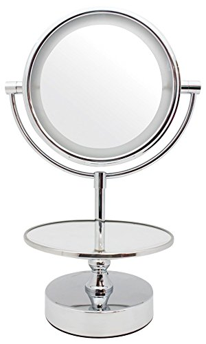 Danielle Chrome LED Lighted 2-Side Swivel Vanity Make-Up Mirror with 10X Magnification and Jewelry Stand