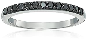 Sterling Silver Black Diamond Wedding Band (1/4cttw, I2 Clarity), Size 5