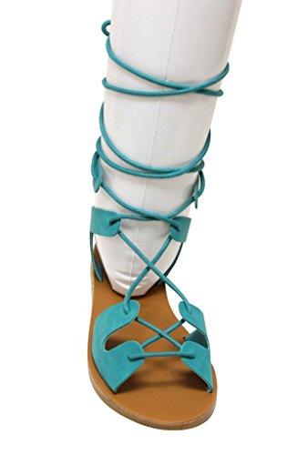 Breckelles Tess-08 Dames Dorsay Platte Open Teen Gilly Stropdas Wrap Enkelbandje Sandalen Aqua
