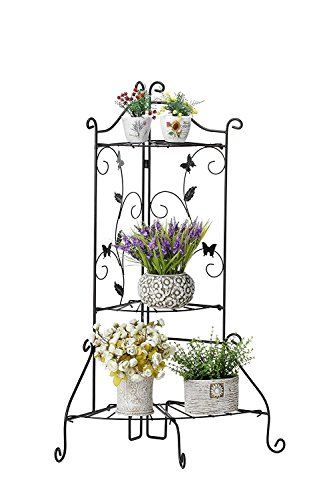 Worth Garden PLANT STAND Foldable 3-Tier Shelf Black Metal Design Storage, Organizer STANDING FLOWER DISPLAY RACK for Outdoor/ Indoor Decoration (Rack Light Rick)