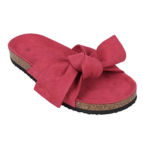 Womens Platform Slides Slip On Open Toe Bowknot Flat Cork Sandals Summer Casual Flats Red Bow Tie Open Toe