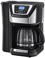 Russell Hobbs Victory kaffebryggare med kaffekvarn, 1.5l glasskanna, 12 koppar, digital programmerbar timer, justerbar malningsgrad för bönorna, filterkaffe, 22000-56